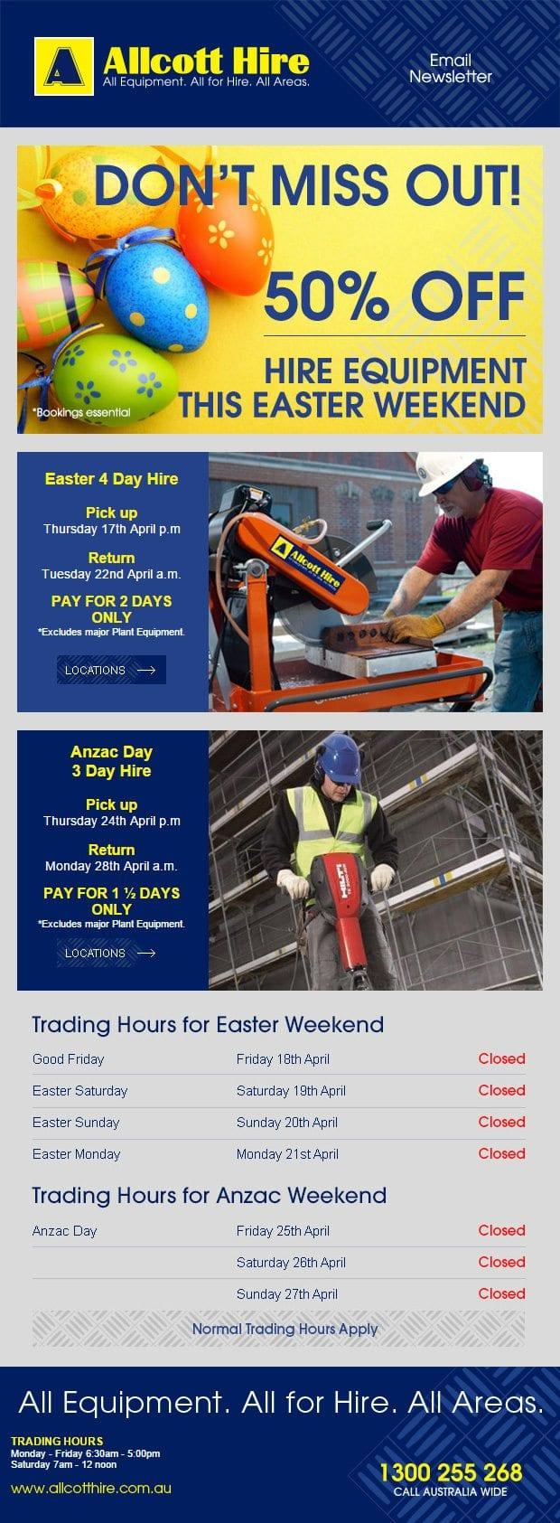 allcott-hire-easter-sale